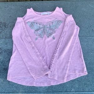 ☀️4/$15☀️Pink Crochet Cold Shoulder Butterfly Top